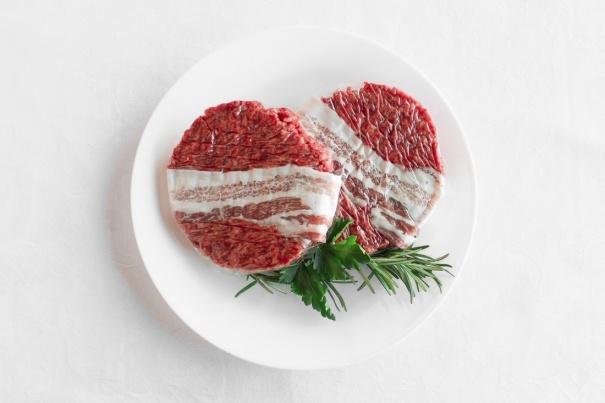 Beef hamburger with bacon